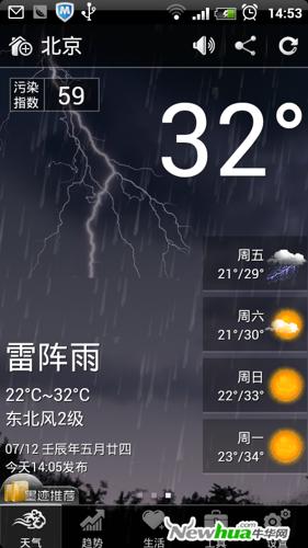 新增天气预览墨迹动画Android2.2新版v天气美食简单网页设计素材图片