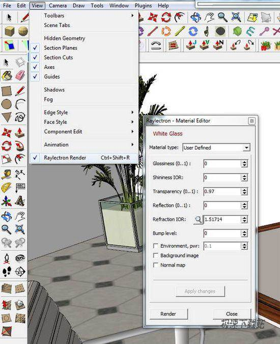 """raylectron 2.11 sketchup的渲染插件工具<p>Raylectron is a cost-effective, concise and powerful SketchUp rendering plug-in. In the 64form, you can create any size image. The only limit is your memory by size. To provide users with four different rendering form. According to the scene, you can get the real shadow rendering method for tracking effect, perhaps by not directly illuminating ray tracing and photon mapping rendering method. Can be more your request to create a unique effect. There are four type of light source. In the sun, the sky, ambient occlusion and configuration of any material as the source of light ( luminous ) and various types of light angle configuration. Can any configuration of any material properties that can occur as the result, such as specular reflection, refraction ( such as glass ), transparency, gloss, gloss, bump mapping, normal mapping and background image. The shadow calculation is it right?"""" False or simulated as soft shadow"""". Shadow is also true of the calculation, with soft shadow attributes. To be able to use all the CPU kernel and multithreading ( you can freely choose from ), but the rendering speed as fast! Support for HDR mapping and can be kept for a HDR rendering image and further processing, you can use image editing software Photoshop < / a > treatment and storage for JPG, PNG and other formats. Once included almost all the default rendering configuration, you need to do is to fine-tune the output. Thus rendering is so easy, and no longer need other software for further processing. The rendering process and SketchUp sequence is separated, allowing you to edge rendering, and continue to continue to use SketchUp holding model and design work. Can let you stop rendering and storage consequences, later can open it again, and continue to hold the rendering. Allows you to rotation, translation, scaling and correcting your rendering model of any material and lighting effects to your customers see. Do not need to render time remove blockin"""