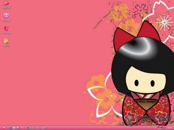 可爱兔斯基桌面_可爱卡通和服女孩电脑桌面主题【维奇主题】_极速下载站_电脑主题