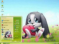 可通灰兔狗电脑桌面主题【绿色】