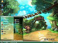 QQ飞车3D赛车网游电脑桌面主题【绿色】